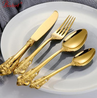 1lot 24 Pcs Luxury Golden Cutlery Set Gold Plated 18 10 Stai...