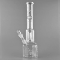 Hola Si Glass Bongs 15.7 Pulgadas Tall Double Bell Perc Jr. Cubilete Base Filer Glass Pipes de agua Viene con Downstem