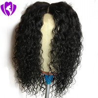 Stock middle part Short kinky curly Lace Front Wigs Pre Pluc...