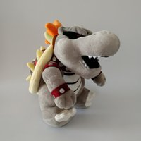 Hot ! Super Mario Bros Gray Bones Bowser Koopa Plush Toy Sof...