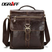Wholesale- OGRAFF Genuine leather briefcase designer men mes...