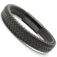 2018 homens jóias do punk trançado preto geunine pulseira de couro de aço inoxidável fivela magnética moda pulseiras