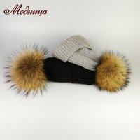 real fur pompom hat Winter Hat For Women Knitted Skullies Be...