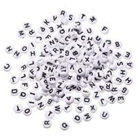 """1000 unids White Round Alphabet Bead cuentas de acrílico carta mixta bricolaje cuentas sueltas para abalorios pulsera accesorios de la joyería 7 mm (1/4 """")"""