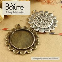 BoYuTe (40 Pieces Lot) 23*47MM Flower Pendant 2 Colors Vinta...