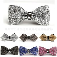 DHL crystal bow tie bridegroom Fashion Luxury Men Rhinestone...