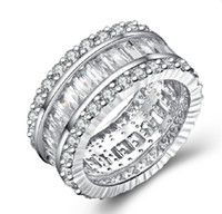 OEM 브릴리언트 SONA 사다리 사이드 시뮬레이션 다이아몬드 반지 925 스털링 실버 백금 도금 약혼 반지 밴드 쥬얼리 도매