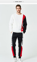 Mens Tracksuits Crew Neck Hoodies Long Trousers Pants Panell...