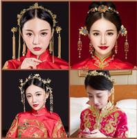 Çin tarzı düğün gelin headdress kostüm Saç Barrette Fazan antik Kronet suit