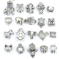 Mix Style Beads Antique Silver Plated Alloy Big Hole Charms ...