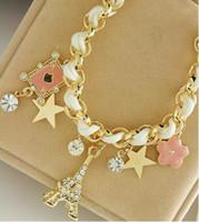 heiße Art und Weise neue Sternblume Herz-förmige Karte Seil Eiffelturm Kristall Armband weiblichen Mode klassischen exquisite