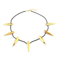 Gold Black Panther Necklace Fashion Silver Spike Statement C...
