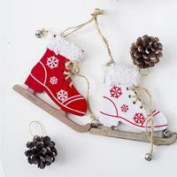 شجرة عيد الميلاد خشبية معلقة قلادة قطرة الحلي رسمت الزلاجات التزلج أحذية قلادة زينة عيد الميلاد باب المنزل