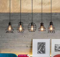 Retro ferro forjado pequeno pingente de iluminação LED quarto criativo único cabeça lâmpada simples refeição lustre sala de estar A791