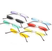 여성용 빈티지 소형 좁은 선글라스 남성 브랜드 무테의 직사 태양 안경 Retro Metal Frame Clear 렌즈 Red Shades