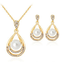 Vintage Imitation Pearl necklace Gold jewelry set for women ...
