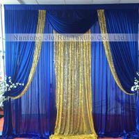 Toppte Verkauf 3mH x3mW Hochzeit / Partei / Geburtstag / Weihnachten Hintergrund Eis Seide und Pailletten Vorhang Eventdekoration