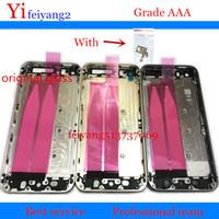 % 100 A kalite Arka Kapak Konut iPhone Yan Düğme Sim Kart Tepsili 5 5s Alüminyum Metal Arka Pil Kapı Kapağı