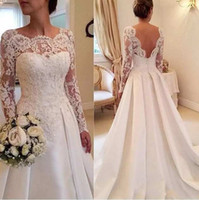 Custom Made A- Line Wedding Dresses Open Back Long Sleeve Lac...