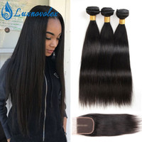 8A Brazilian Straight Body Wave Bundles with 4x4 Lace Closur...