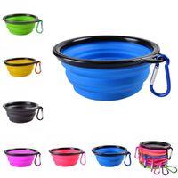 Color sólido Pet Cat dog Bowl plegable plegable de silicona perrito perrito alimentador agua comida contenedor estilo plegable
