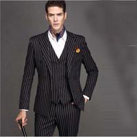 Ultime Black White Stripe Men Suit Slim 3Piece smoking abiti sposo su ordine di promenade Blazer Terno Masculino (Jacket + Pant + Vest + Tie)