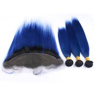 حزمة أومبير العذراء بيرو الإنسان الشعر الداكن مع جبهة أمامية مستقيم # 1B / الأزرق أومبير ينسج لحمة ملحقات مع 13x4 الرباط أمامي