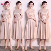 Champagne Knee Length Bridesmaid Dresses Satin Maid Of Honor...