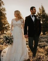 Elegant Lace Wedding Dresses V Neck Long Sleeves Plus Size W...