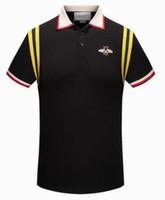 Pro Tasarımlar Arı Nakış Polo Gömlek Erkekler Artı Boyutu M-3XL 2018 Bahar Marka erkek Polo Gömlek Düz Renk Rahat Erkek Polos Siyah