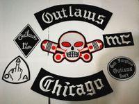 Yeni Outlaws Yamalar Işlemeli Demir için Biker Yamalar Motosiklet Ceket Yelek Yama Eski Outlaws Chicago Yama rozetleri sticker