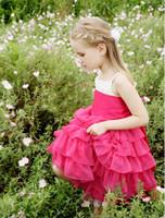 Lovely Fuchsia&White Straps Layers Tea- L Flower Girl Dresses...
