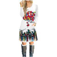 Mulheres roupas vestido de mangas compridas no outono, 100% algodão 3D impresso vestido, meninas moda moletom com capuz T-shirt saia treino de balão