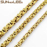 Joyería de moda 5mm 7mm 9mm Cadena de Eslabones Bizantinos Collar de Acero Inoxidable de Color Oro para Hombres Mujeres SC09 N