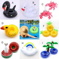 Gonfiabile Cigno Granchio Anatra anguria Ananas Bere Piscina Galleggiante Cup Holder Anello Nuoto Materasso Circle Beach Pool Party Giocattoli C4263