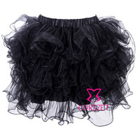 Fancy Dance Stage Wear Adult Nero Organza Net Ruffles Layered Sexy Gonna corsetto Donne Gothic Plus Size Short Mini Tutu Gonne