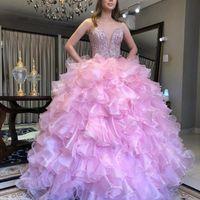 Muhteşem Ruffles Katmanlı Quinceanera Elbiseler Kristal Boncuk Sevgiliye Kolsuz Balo Balo Elbise Organze Parti Elbise Abiye giyim