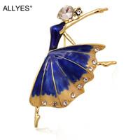 ALLYES Bailarina Broches Para Las Mujeres Bisutería Collar de Moda Femenina Solapa Ballet Bailarín de Cristal Azul Esmalte Pin Broche