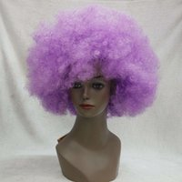 PURPLE CURLY AFRO WIG CIRCUS CLOWN UNISEX FANCY DRESS FOOTBA...