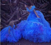 Külkedisi Gelinlik Modelleri Kapalı Omuz Pleats Buz Mavi Kabarık Prenses Elbiseler Akşam Aşınma Tül Quinceanera Özel Balo Abiye giyim