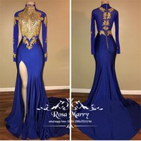 Royal Blue Gold Lace Mermaid Prom Dresses 2020 High Neck Lon...