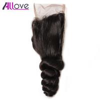 Allove 10a Brasileño Onda suelta Cierre de encaje de encaje suelto Tejido Malasia Virginal Cierre Cierre de encaje peruano Cierre Indian Virgin Hair Bundle