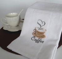 Novo 50x70 cm Branco Waffle Bordado De Café Cereja Guardanapos De Mesa Pano de Cozinha Casa Toalhas De Chá Fotografia Adereços Almofadas