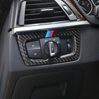 BMW 3 4 시리즈 3GT F30 F31 F32 F34 316i 액세서리에 대 한 탄소 섬유 헤드 라이트 스위치 단추 장식 프레임 커버 트림 스티커