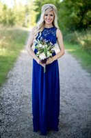 Country Royal Blue Long Bridesmaid Dresses Cheap Sheer Lace Jewel Neck Zipper Back Chiffon Maid of the Honor Gowns Floor Length