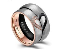 His & Hers Real Love Heart Promise couple Ring Titanium Stee...