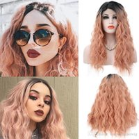 Free Shipping Synthetic Wigs Ombre Pink Color Loose Wave Hai...