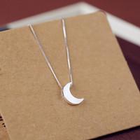 Freies Verschiffen Ketten Halsband 925 Sterling Silber Halsketten Silber 925 Mond Anhänger Charme Halsketten Für Frauen Mädchen