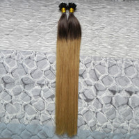 "Ön gümrüklü düz İpucu 10 ""-26"" Keratin Remy Ombre İnsan Saç Doğal düz Ucu Saç Uzantıları Düz Avrupa Remy İnsan Saç Kapsül"