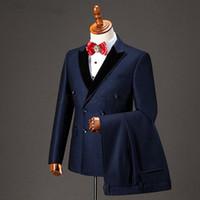 Smoking doppiopetto Groomsmen picco nero risvolto smoking smoking uomo abiti da sposa / Prom. Best man blazer (giacca + pantaloni + cravatta)